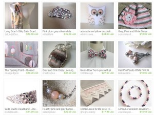 I'm Pink White and Gray and Fabulous - An Etsy Treasury