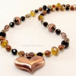 caramel crystal beaded copper heart pendant necklace and earring set